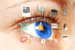 Woman blue eye looking at digital virtual screen with flat business icons close-up